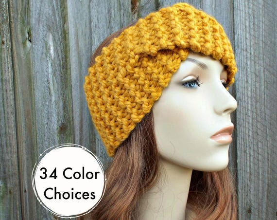 Twisted Turban Knitted Headband in Mustard Yellow - Mustard Headband Mustard Earwarmer Womens Headwrap - Knit Accessories