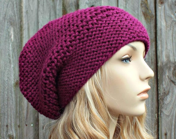 Magenta Pink Slouchy Knit Hat - Womens Hat Slouchy Beanie - Slouchy Hat Pink Hat Pink Beanie Winter Hat - READY TO SHIP