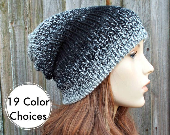 Slouchy Double Knit Hat Ombre Hat Cream and Black Mens Beanie, Cream and Black Womens Beanie, Reversible Thick Winter Hat - 19 Color Choices
