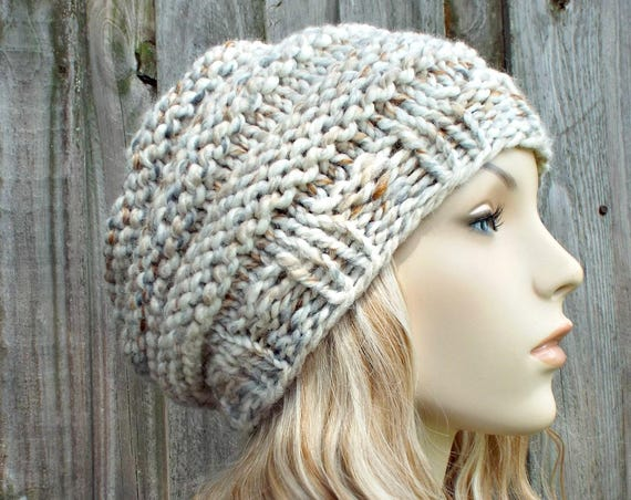 Mixed Neutrals Womens Knit Hat - Original Beehive Beret in Fossil - Warm Winter Hat