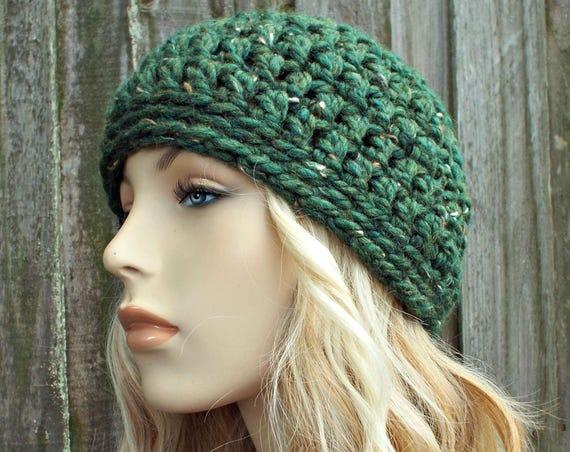 Kale Tweed Green Beanie - Crochet Womens Hat Mens Hat - Warm Winter Hat - READY TO SHIP