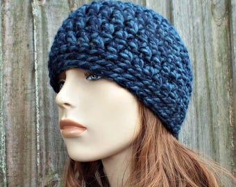 Mixed Blue Beanie Blue Hat - Crochet Womens Hat Blue Mens Hat - Blue Womens Hat Warm Winter Hat - READY TO SHIP