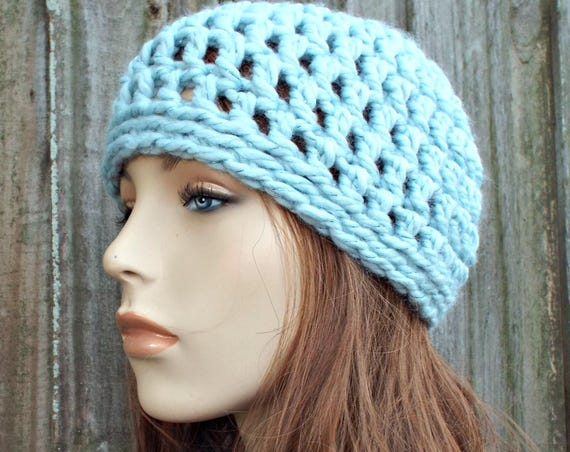 Metallic Blue Beanie Metallic Blue Hat - Crochet Womens Hat Mens Hat - Warm Winter Hat - READY TO SHIP