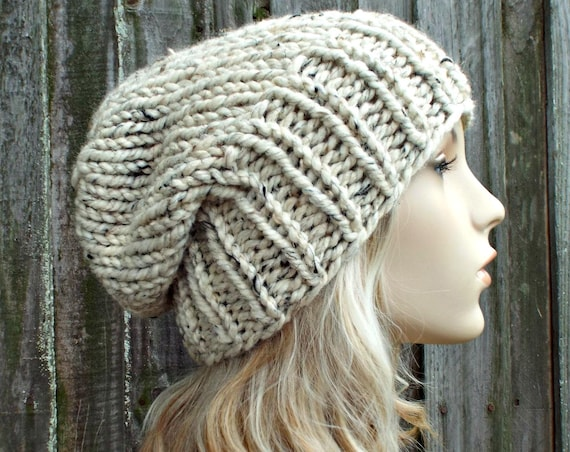 Womens Mens Chunky Knit Hat Fall Fashion Warm Winter Hat Knit Accessories - Adaline Slouchy Beanie in Oatmeal Tweed