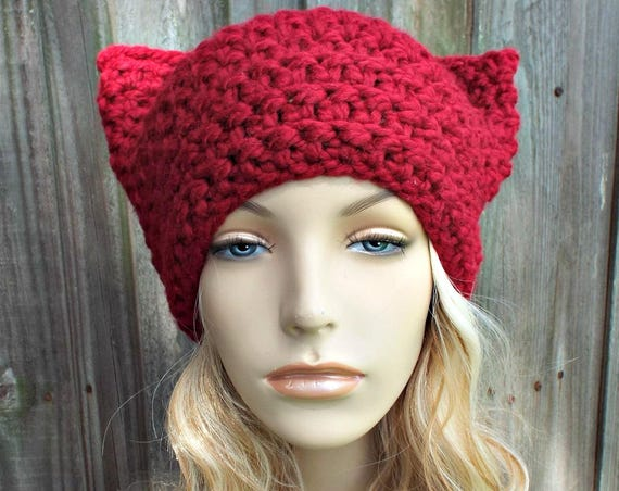 Cranberry Red Cat Hat - Thermal Crochet Womens Warm Winter Beanie - Red Hat Red Beanie - Pussyhat Pussy Hat