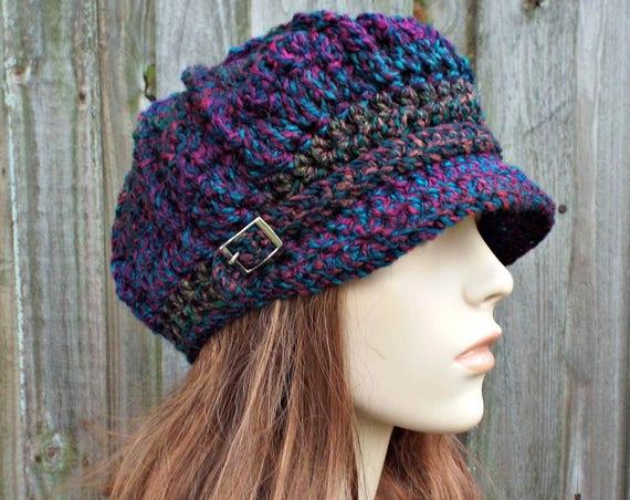 Bedazzle Jewel Tones Womens Newsboy Womens Hat - Spring Monarch Ribbed Crochet Newsboy Hat Crochet Hat Womens Accessories