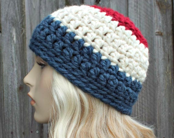 Red White and Blue Beanie Patriotic Hat - Crochet Womens Hat Mens Hat - Warm Winter Hat - READY TO SHIP