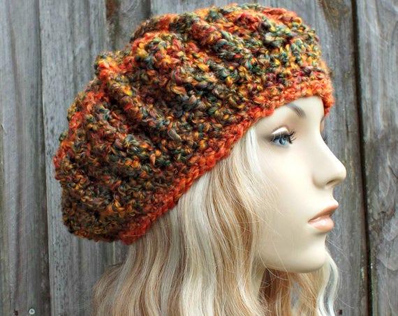 Pumpkin Harvest Beret Womens Hat - Spring Monarch Beret Crochet Hat - Pumpkin Hat Orange Beret Orange Hat - READY TO SHIP