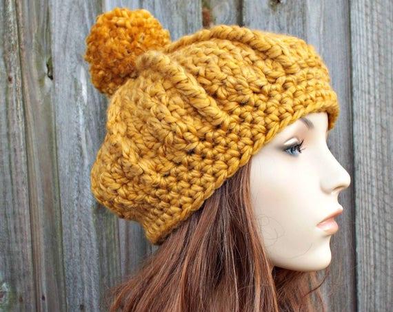 Womens Pom Pom Beret - Crochet Hat Oversized Monarch Ribbed Beret Golden Rod Mustard Yellow Crochet Hat - Yellow Hat Yellow Beret