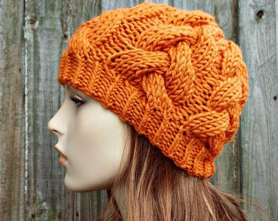 Pumpkin Orange Knit Cable Beanie - Orange Womens Beanie - Orange Cable Hat Orange Hat Warm Winter Hat - Cable Beanie - READY TO SHIP