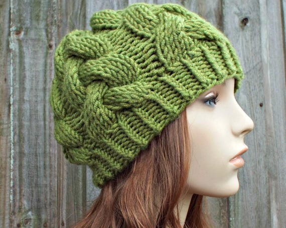 Avocado Green Knit Cable Beanie Green Womens Beanie - Green Cable Hat Green Hat Warm Winter Hat - Branch Cable Beanie - READY TO SHIP