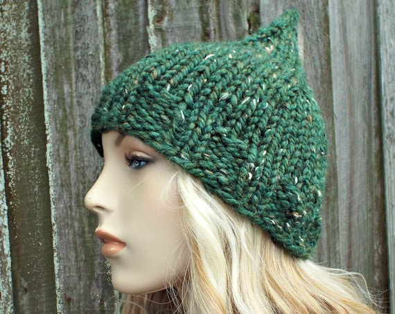 Womens Knit Tweed Kale Green Gnome Hat - Green Hat Green Beanie Womens Accessories Fall Fashion Winter Hat