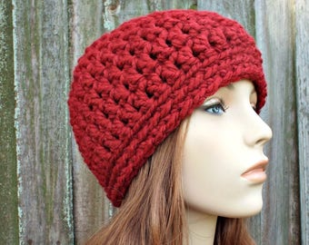 Russet Red Beanie - Red Crochet Hat Red Womens Hat Red Mens Hat - Warm Winter Hat Red Hat - READY TO SHIP