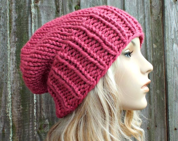 Womens Mens Chunky Knit Hat Fall Fashion Warm Winter Hat Knit Accessories Adaline Slouchy Beanie - Raspberry Pink Hat - READY TO SHIP