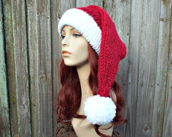 Hand Knit Santa Hat - Adult Size Santa Hat Christmas Hat - Cranberry Red Knit Hat With White Brim Pom Pom - Santa Claus Hat Winter Hat