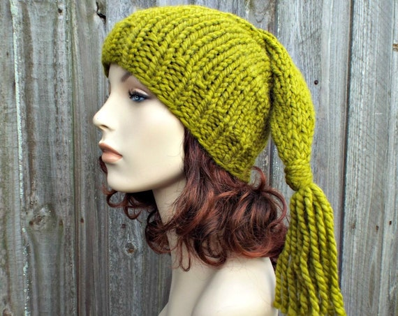 Hand Knit Elf Hat - Adult Size Elf Hat Christmas Hat - Lemongrass Green Knit Hat With Tassel - Green Winter Hat Green Beanie