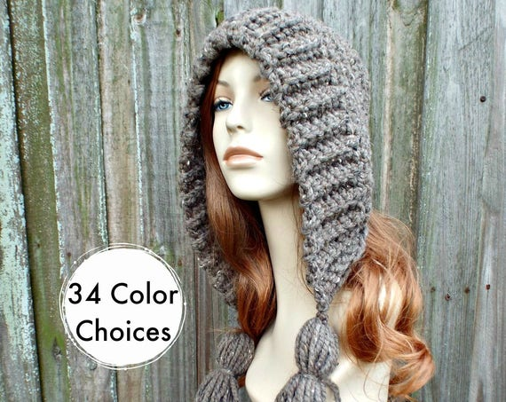 Barley Brown Crochet Hat Women Hat Crochet Hood - Brown Tassel Hat Ear Flap Hat - Brown Hat Brown Hood Winter Hat