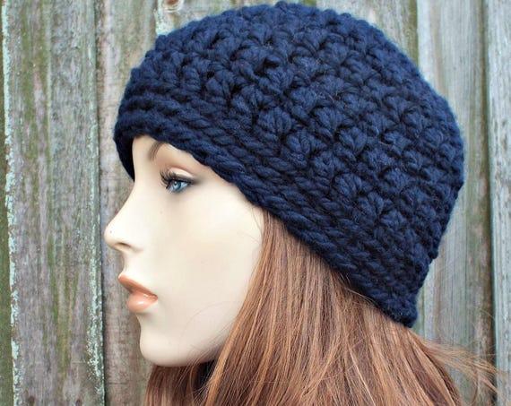 Navy Blue Beanie - Blue Crochet Hat Blue Womens Hat Blue Mens Hat - Warm Winter Hat Blue Hat - READY TO SHIP