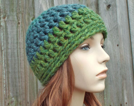 Color Block Blue and Green Beanie - Crochet Womens Hat Mens Hat - Warm Winter Hat - READY TO SHIP
