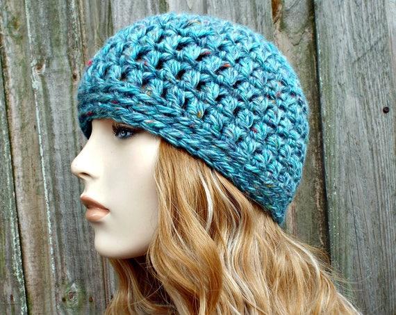 Acrylic Tweed Blue Beanie Blue Hat - Crochet Womens Hat Blue Mens Hat - Blue Womens Hat Warm Winter Hat