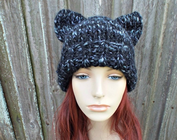 Black and White Cat Hat Cat Beanie - Folded Cuff Beanie Womens Winter Knit Beanie - Black Pussyhat Black Pussy Hat