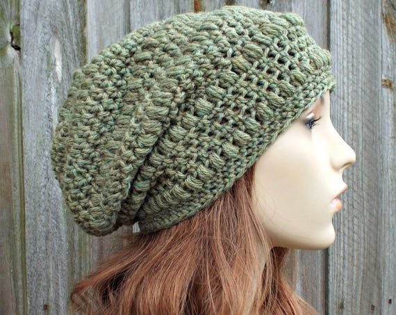 Light Olive Heather Crochet Hat Womens Hat - Penelope Puff Stitch Slouchy Beanie Hat Green Beanie Green Hat Wool Hat
