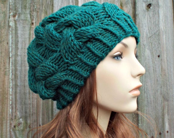 Peacock Teal Knit Cable Beanie - Teal Womens Beanie Teal Mens Beanie - Cable Hat Teal Hat Warm Winter Hat - READY TO SHIP