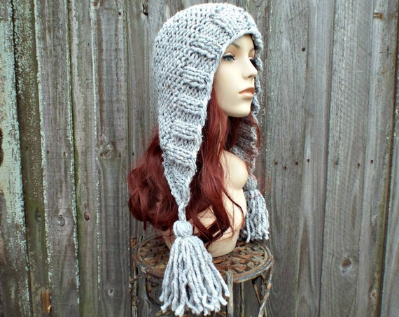 Chunky Knit Hat Women Hat Grey Hood Grey Ear Flap Hat - Grey Tassel Hat - Grey Knit Hat Grey Hat - Knit Accessories Grey Winter Hat