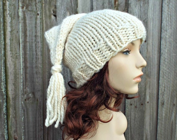 Hand Knit Elf Hat - Adult Size Elf Hat Christmas Hat - Cream Knit Hat With Tassel - Cream Hat Cream Winter Hat Cream Beanie - READY TO SHIP