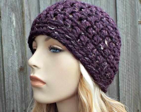 Raisin Tweed Purple Beanie - Crochet Womens Hat Mens Hat - Crochet Hat Women Warm Winter Hat