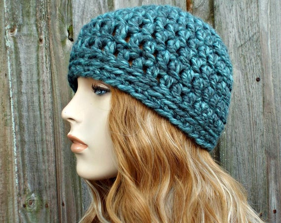 Turquoise Blue Beanie Blue Hat - Crochet Womens Hat Blue Mens Hat - Blue Womens Hat Warm Winter Hat