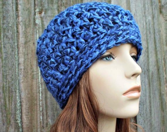 Acai Deep Blue and Black Beanie Blue and Black Hat Crochet Womens Hat Mens Hat - Blue Hat Blue Beanie Warm Winter Hat - READY TO SHIP