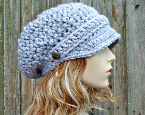 Crochet Hat Pewter Grey Womens Hat Grey Newsboy Hat - Crochet Newsboy Hat in Pewter Grey Crochet Hat - Slouchy Grey Hat Womens Accessories