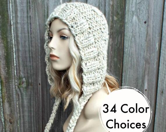 Chunky Knit Hat Womens Oatmeal Hat Oatmeal Hood Oatmeal Ear Flap Hat - Oatmeal Knit Hat - Womens Accessories