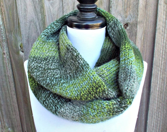 Double Knit Infinity Scarf Womens Knit Circle Scarf - Mixed Green Scarf Chunky Scarf Womens Accessories Fall Fashion - READY TO SHIP