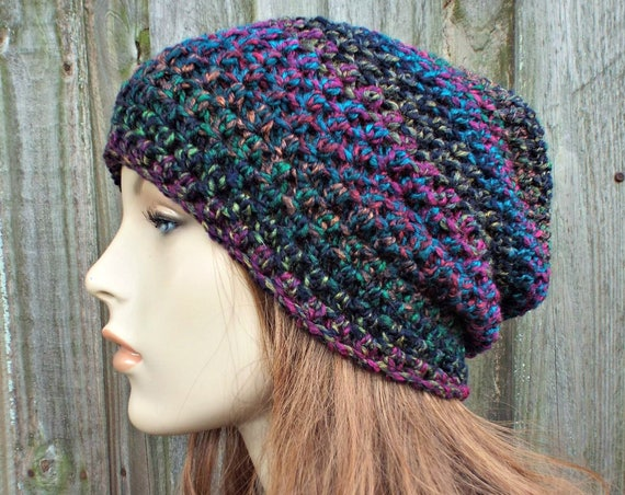 Bedazzle  Black and Rainbow Crochet Hat - Black Hat Black Womens Hat Black Beanie - Slouchy Beanie Hat Womens Accessories