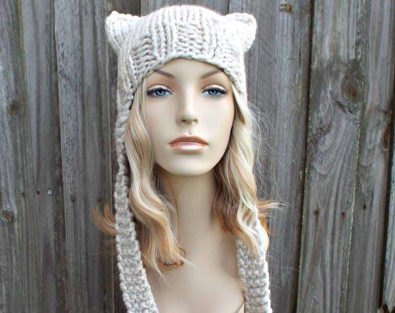 Womens Hat - Ear Flap Cat Hat Mushroom Cream Knit Hat - Cream Hat Cream Beanie Cream Ear Flap Hat Warm Winter Hat