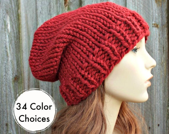 Chunky Knit Hat Womens Hat Slouchy Beanie Mens Hat Slouchy Hat - Toque Beanie Russet Red Hat - Red Beanie Warm Winter Hat