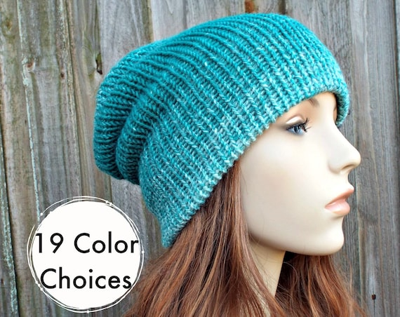 Slouchy Double Knit Hat Ombre Hat Cream and Teal Mens Beanie, Cream and Teal Womens Beanie, Reversible Thick Winter Hat - 19 Color Choices