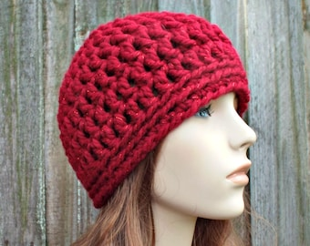 Metallic Red Poinsettia Red Beanie - Red Crochet Hat Red Womens Hat Red Mens Hat - Warm Winter Hat Red Hat