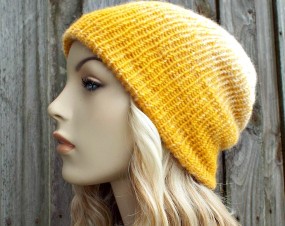 Double Knit Hat Cream and Yellow Mustard Womens Beanie, Mens Beanie, Reversible Thick Winter Hat - 19 Color Choices