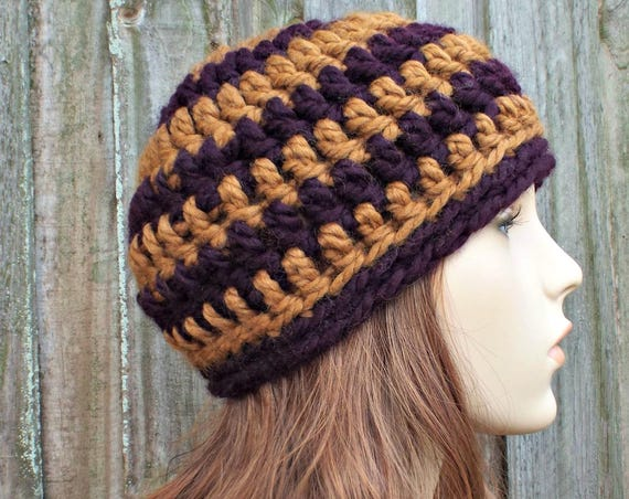 Peanut Butter and Jelly Beanie - Crochet Hat Womens Hat Mens Hat - Warm Winter Hat Brown and Purple Hat - READY TO SHIP