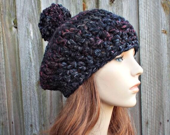 Blackstone Crochet Hat Black Womens Hat Slouchy Hat - Pom Pom Beret Black Crochet Hat - Black Hat Black Beret Black Beanie
