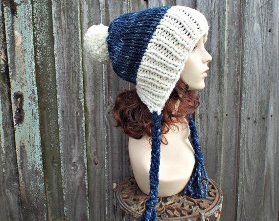 Starlight Cream River Run Mixed Blue Hat - Womens Pom Pom Hat - Slouchy Ear Flap Knit Blue Beanie - Charlotte - READY TO SHIP