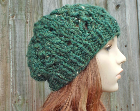 Green Hat Green Beanie Green Womens Hat - Wisteria Beanie Chunky Lace Slouchy Hat in Kale Tweed - Knit Accessories