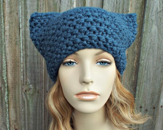 Denim Blue Cat Hat - Thermal Crochet Womens Warm Winter Beanie - Blue Hat Blue Beanie - Pussyhat Pussy Hat
