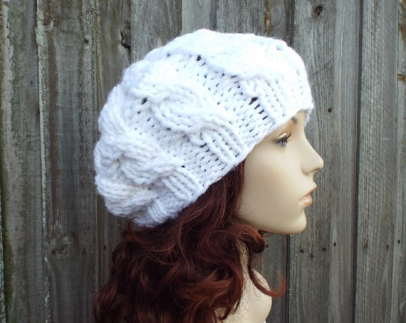 Chunky Knit Hat Womens White Cable Beret - Fall Fashion Warm Winter Hat Knit Accessories White Beret White Hat White Beanie - READY TO SHIP