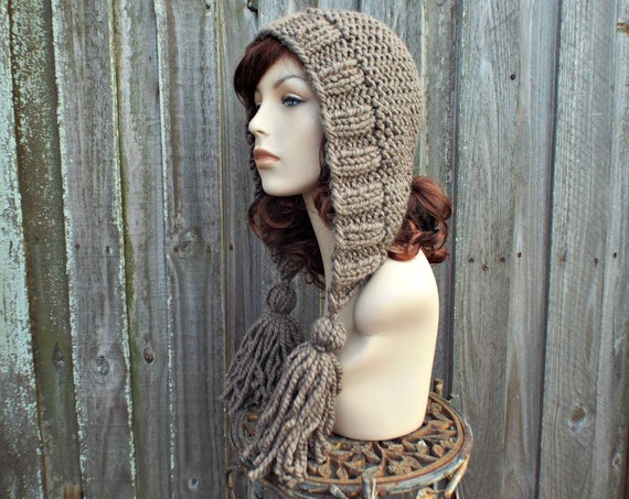 Chunky Knit Hat Women Hat Taupe Hood Taupe Ear Flap Hat - Taupe Tassel Hat - Taupe Knit Hat Brown Hat Brown Hood - Knit Accessories
