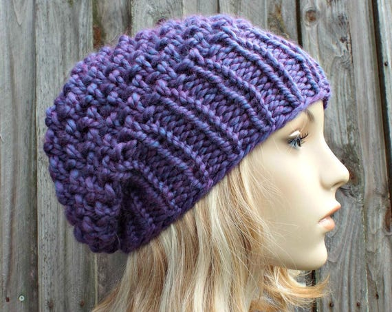 Womens Chunky Knit Hat Fall Fashion Winter Hat Knit Accessories - Honeycomb Slouchy Beanie - Purple Hat Purple Beanie - READY TO SHIP