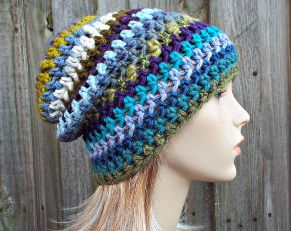 Blue Green Crochet Hat Womens Hat - One of a Kind Remnant Slouchy Striped Beanie Hat Crochet Hat Winter Accessories - READY TO SHIP